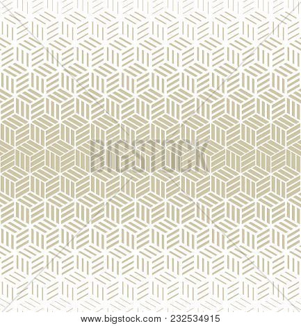 Abstract Geometric Pattern With Cubes And Strips. A Seamless Vector Background. Gold And White Textu