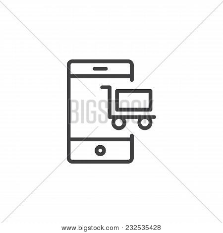 Mobile Phone With Shopping Cart Outline Icon. Linear Style Sign For Mobile Concept And Web Design. M