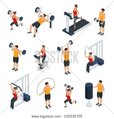 Isometric People In Gym Collection With Men And Women Doing Different Physical Exercises Isolated Ve