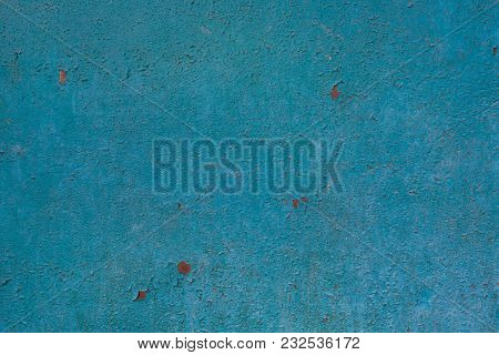 Shabby Blue Paint, Pattern. Old Wall Of Building, Shuffled Over Time. Grunge Style. Template Backgro