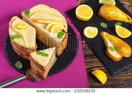 Sliced Homemade Pear Sponge Cake, Top View