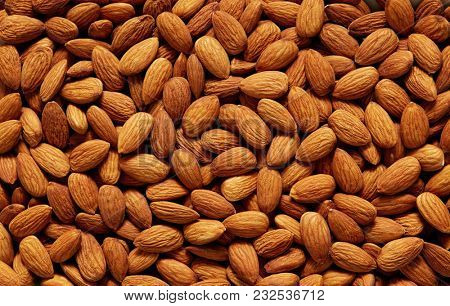 Almonds Background. Full Frame Shot Of Almonds For Sale In Market.