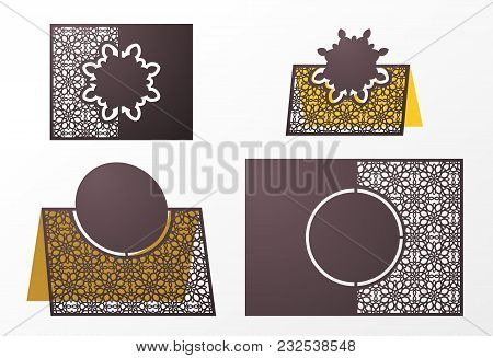 Laser Cut Ornamental Vector Template. Table Number, Place Card, Wedding Seats Card, Table Card Guest