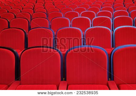 Empty Red Chairs In Concert A Hall