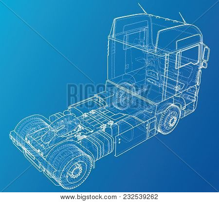 Commercial Delivery Cargo Truck Vector For Brand Identity And Advertising Isolated. Created Illustra