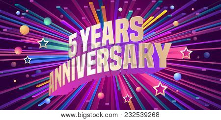 5 Years Anniversary Vector Icon, Logo. Graphic Design Element For 5th Anniversary Birthday Greeting
