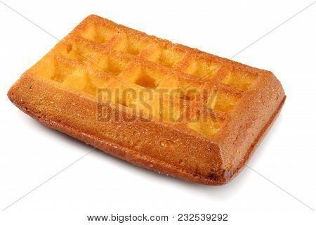 Belgian Waffle Isolated On A White Background