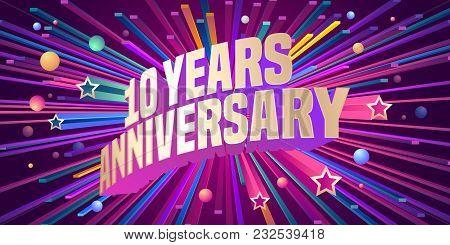 10 Years Anniversary Vector Icon, Logo. Graphic Design Element For 10th Anniversary Birthday Greetin