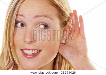 young woman listening to the