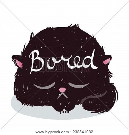 Cute Monster Kitten With Text. Vector Illustration For T Shirt And Print Design. Poster, Card, Label