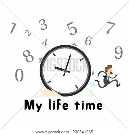 My Life Time Clock Man Runing Background Vector Image