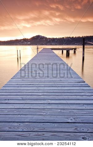 Dock on Mountain Lake by Sunset