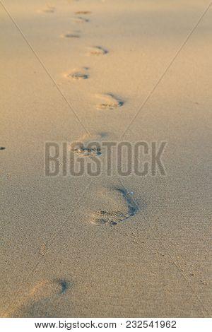 Footprint On The Beach. Sand And Footprint Of Human.