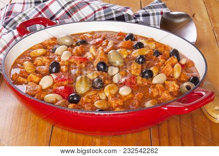 Spanish Pork Stew With Olives And Butter Beans.