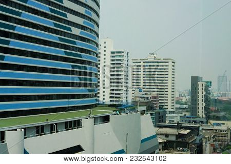 Cityscape Of Modern Office Building In Asoke-sukhumvit Area In Bangkok, Thailand