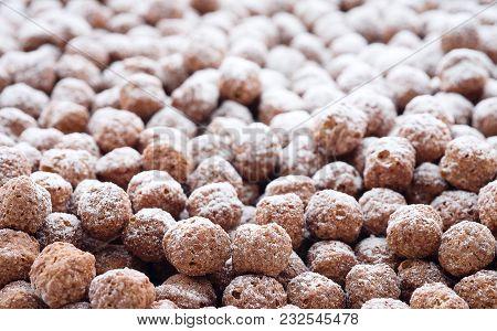 Chocolate Corn Balls Close Up.chocolate Corn Balls Close Up