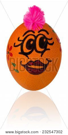 Easter Egg, Painted In Smiling Cartoon Face Of Girl. Decorated Egg With Funny Colorful Hairstyle And