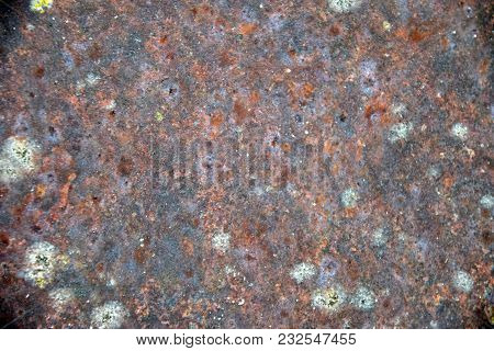 Old Iron Plate Covered In Red Rust