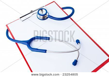 Clipboard with notes and stethoscope