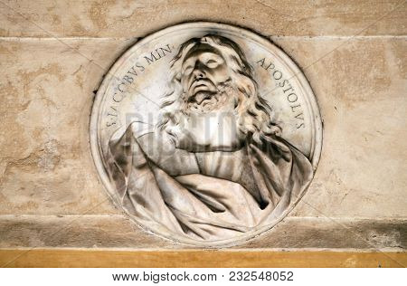 ROME, ITALY - SEPTEMBER 03: Saint James the Apostle, bass relief in portico of church dei Santi XII Apostoli in Rome, Italy on September 03, 2016.