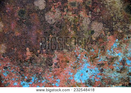 Blue Paint Rests On Rusty Structure, Iron Plate
