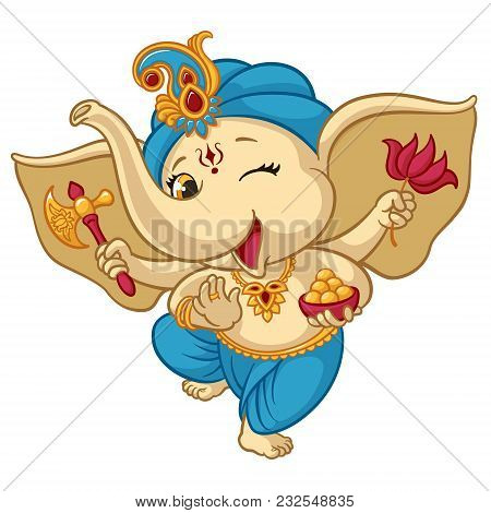Ganesha Elephant Cartoon Vector Illustration For Traditional Hindu Festival. Isolated Happy Baby Gan
