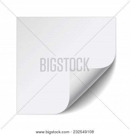Sticker Paper Note. White Sheet With Curled Corner And Soft Shadow Isolated On White Background. Vec