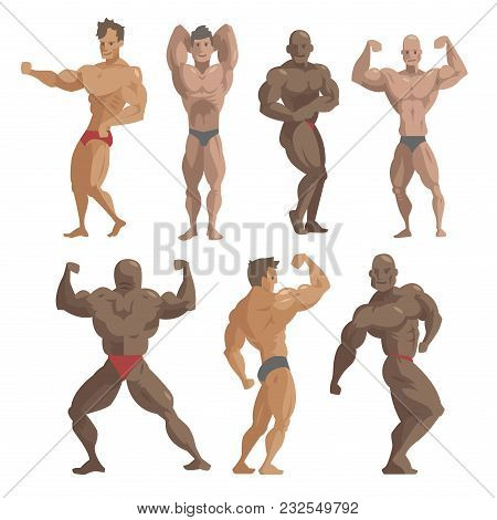 Bodybuilder Sportsman Vector Characters Muscular Bearded Man Fitness Male Strong Athlets Model Posin