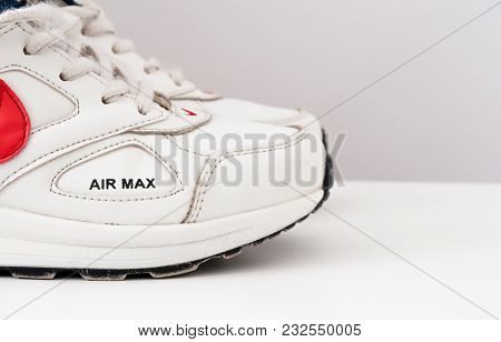 Ukraine, Lviv - Mar 5 , 2018: White Sneakers Nike Air Max On White Background