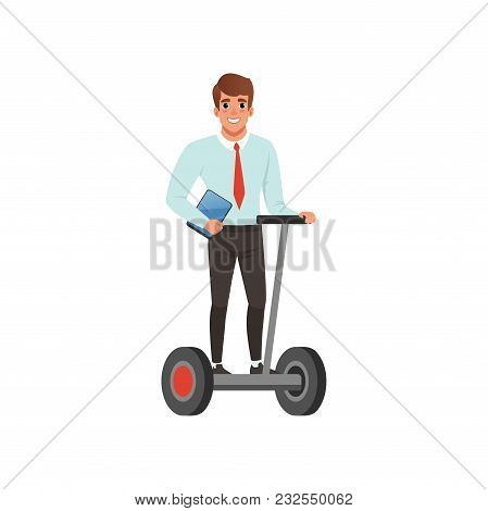 Young Smiling Guy Riding Segway And Holding Digital Tablet In Hand. Eco Alternative Transport. Busin