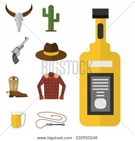 Wild Western Vector Cowboy Icons Rodeo Equipment And Many Different Western Wild West Accessories Il