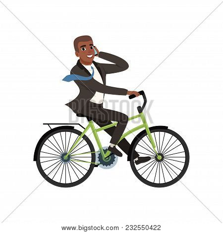 Afro-american Businessman Riding Bicycle And Talking On Phone. Cartoon Character Of Young Guy In For