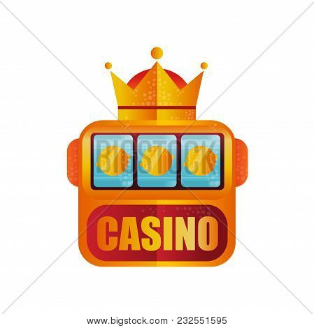 Retro Logo Design For Casino. Slot Machine With Crown. Winning The Jackpot. Game For Money. Graphic