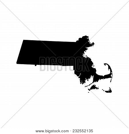 Map Of The U.s. State Massachusetts On White Background
