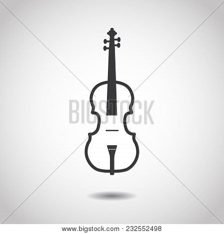Image Of A Violin On A Gray Background. Linear Design