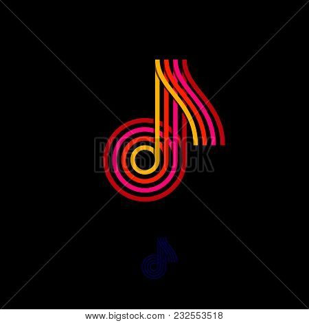 Music Logo. Note Emblem. Multi-colored Logo As A Note On A Dark Background