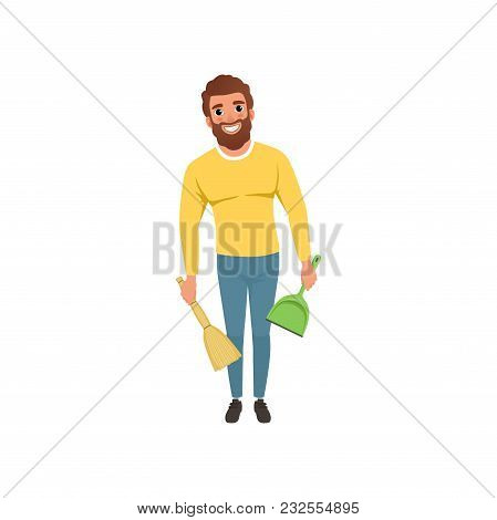 Illustration Of Young Guy With Broom And Scoop In Hands. Cheerful Bearded Man With Household Chores.