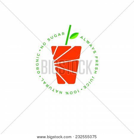 Orange Juice Logo. Fresh Juice Posters. The Glass Of Juice And Drinking Straw With Leaf.