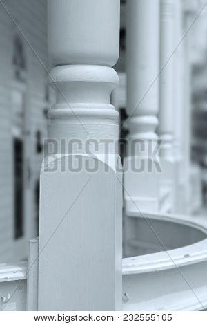 Close up shot of wooden pillars