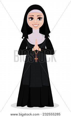 Nun Cartoon Character. Smiling Catholic Sister With Praying Hands And Catholic Rosary. Vector Illust
