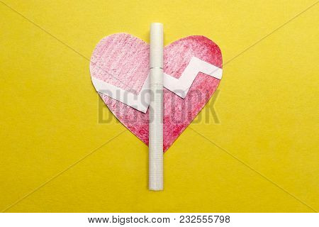 Cigarette Heart Cardiogram Toxic Narcotic  Yellow Background