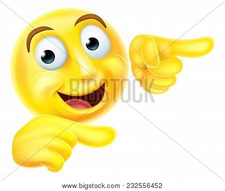 A Happy Emoji Emoticon Smiley Face Character Pointing With Both Hands