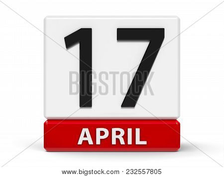 Red And White Calendar Icon From Cubes - The Seventeenth Of April - On A White Table - World Hemophi