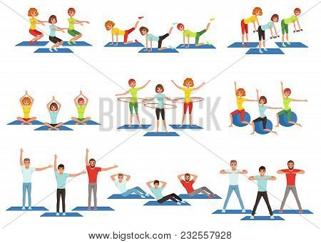 Set Of Sports People In Gym. Group Fitness Training. Active And Healthy Lifestyle. Men And Women Doi
