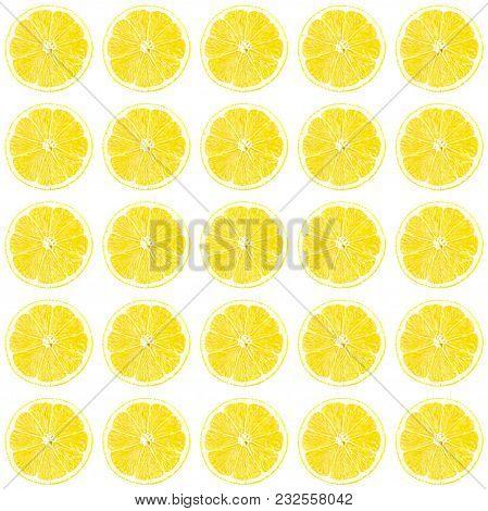 Fresh Yellow Lemon Photographic Pattern. Lemon Wallpaper. Isolated On White Background