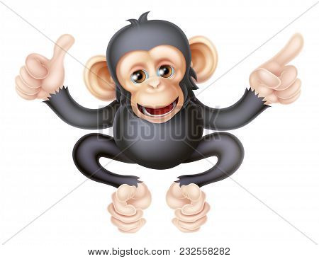 Cartoon Chimp Monkey Like Character Mascot Giving A Thumbs Up And Pointing