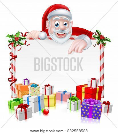 Christmas Sign With Cartoon Santa Claus Peeking Over A Sign Board With Wrapped Gifts And Christmas H