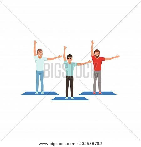 Three Smiling Men Warming-up And Stretching Before Training. Male Fitness Group. Active Workout. You
