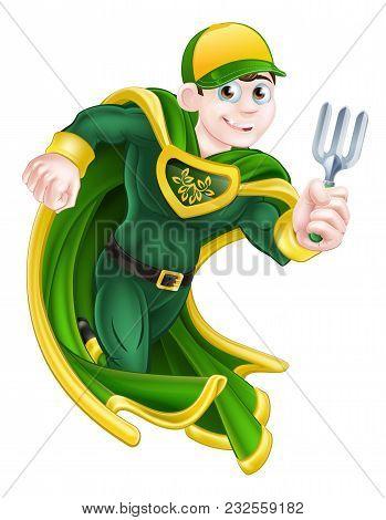A Cartoon Super Hero Gardener Character Holding A Garden Fork Tool
