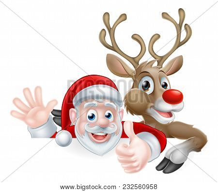 Christmas Illustration Of Happy Cute Cartoon Santa And Reindeer Peeking Above Sign Waving And Giving